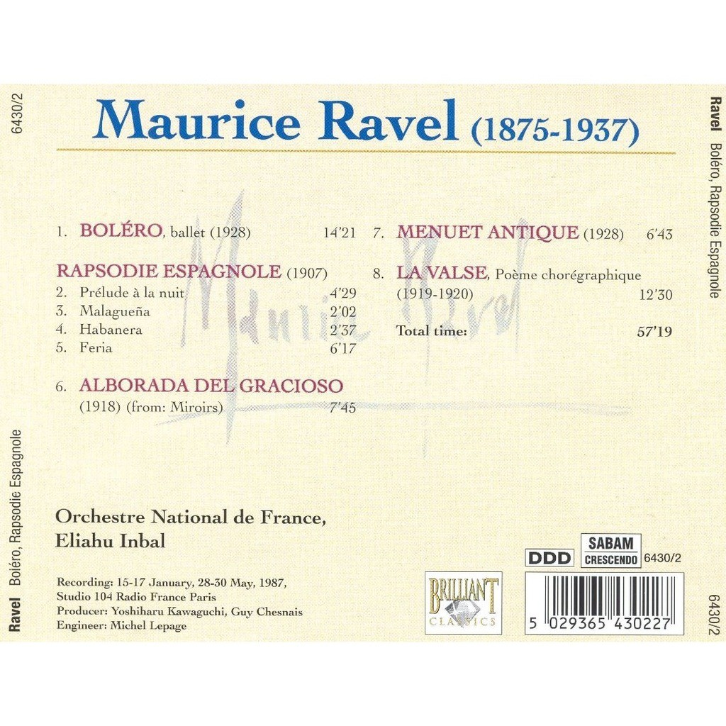 Ravel, Maurice Boléro; Rhapsodie espagnole; Alborada del gracioso / Orchestre National de France, Eliahu Inbal