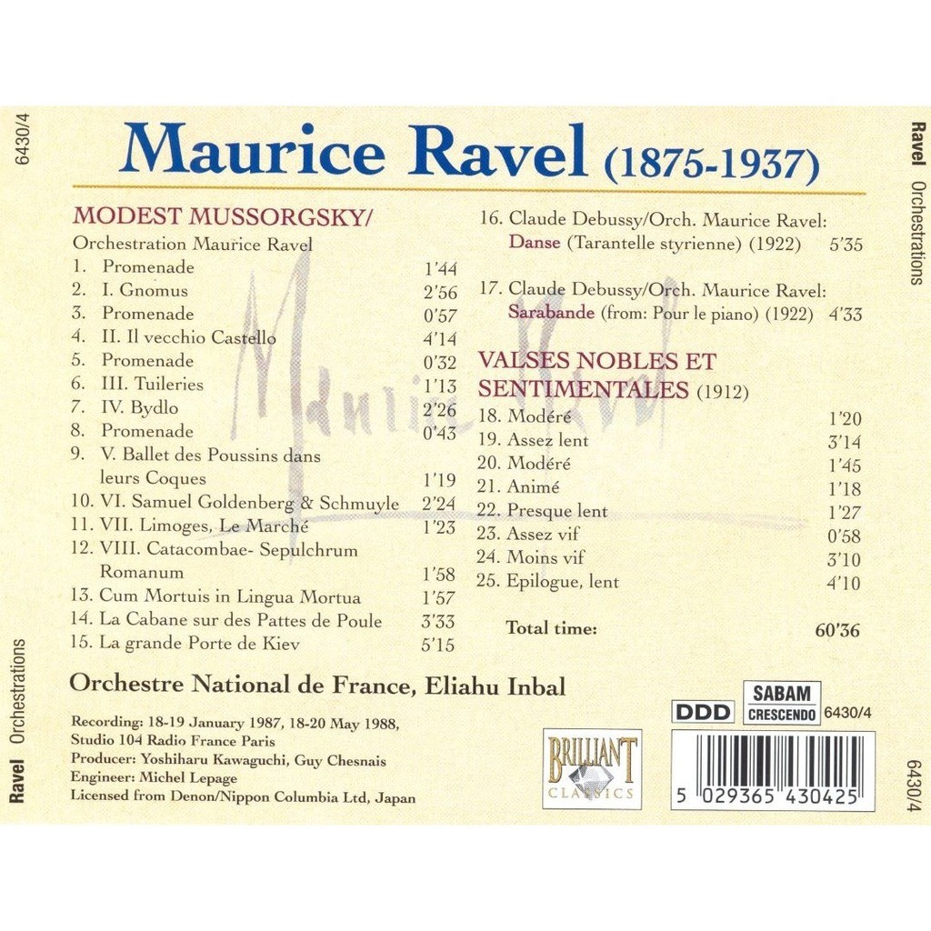 Ravel / Debussy / Mussorgsky Valses; Sarabande: Danse; Tableaux d'une Exposition / Orchestre National de France, Eliahu Inbal