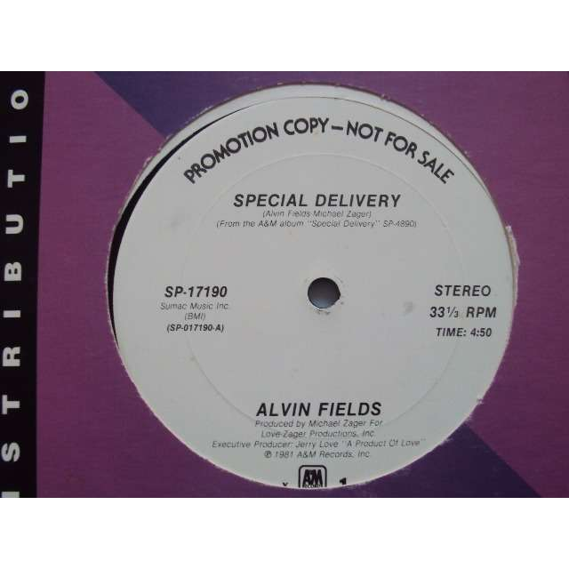 ALVIN FIELDS special delivery (Vocal 4'50) / Lucky number seven (Vocal 6'03) 1981 USA PROMO COPY (MAXIBOXLP)