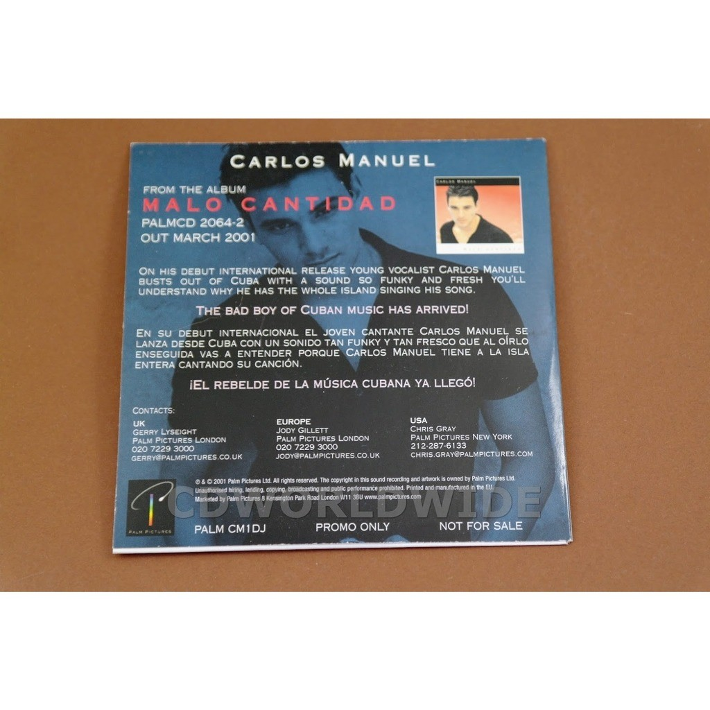 Carlos Manuel From The Album Malo Cantidad - PROMO CD