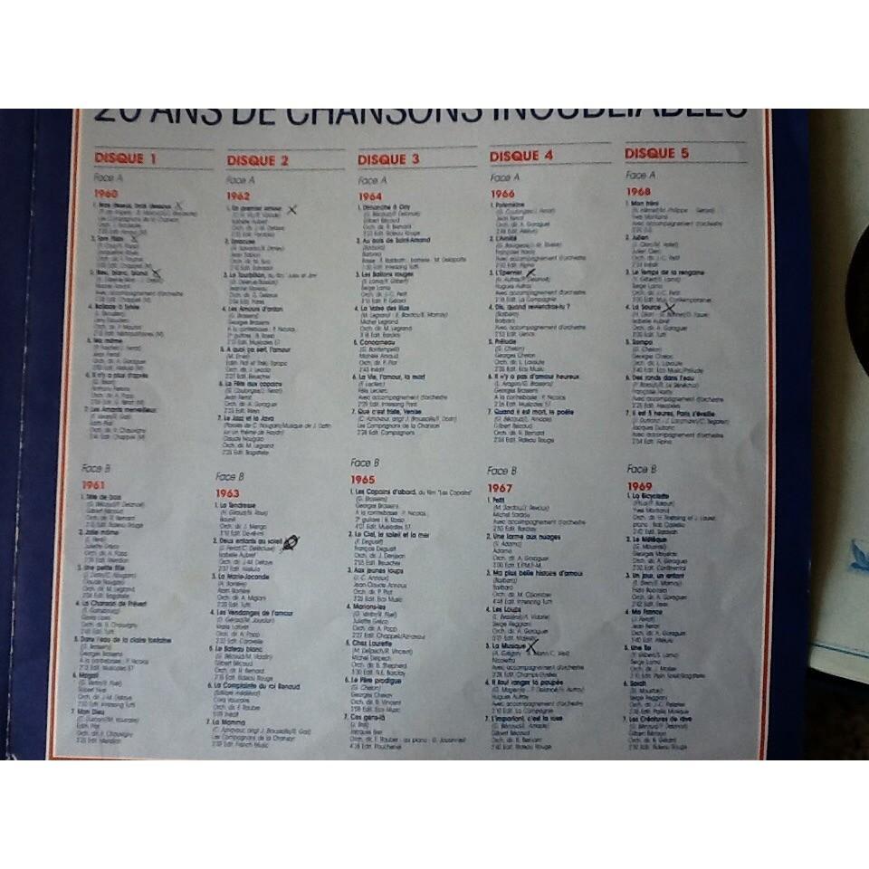 Nino Ferrér ,Daniel Guichard,Gabin, Halliday ,etc 20 ans de chansons françaises inoubliables - 1960 1979
