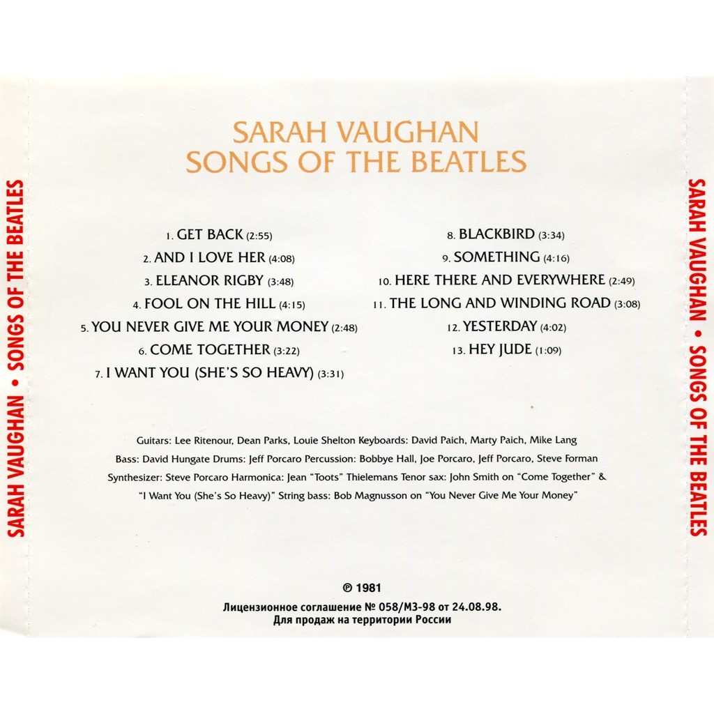 Songs of the beatles by Sarah Vaughan, CD with solarfire