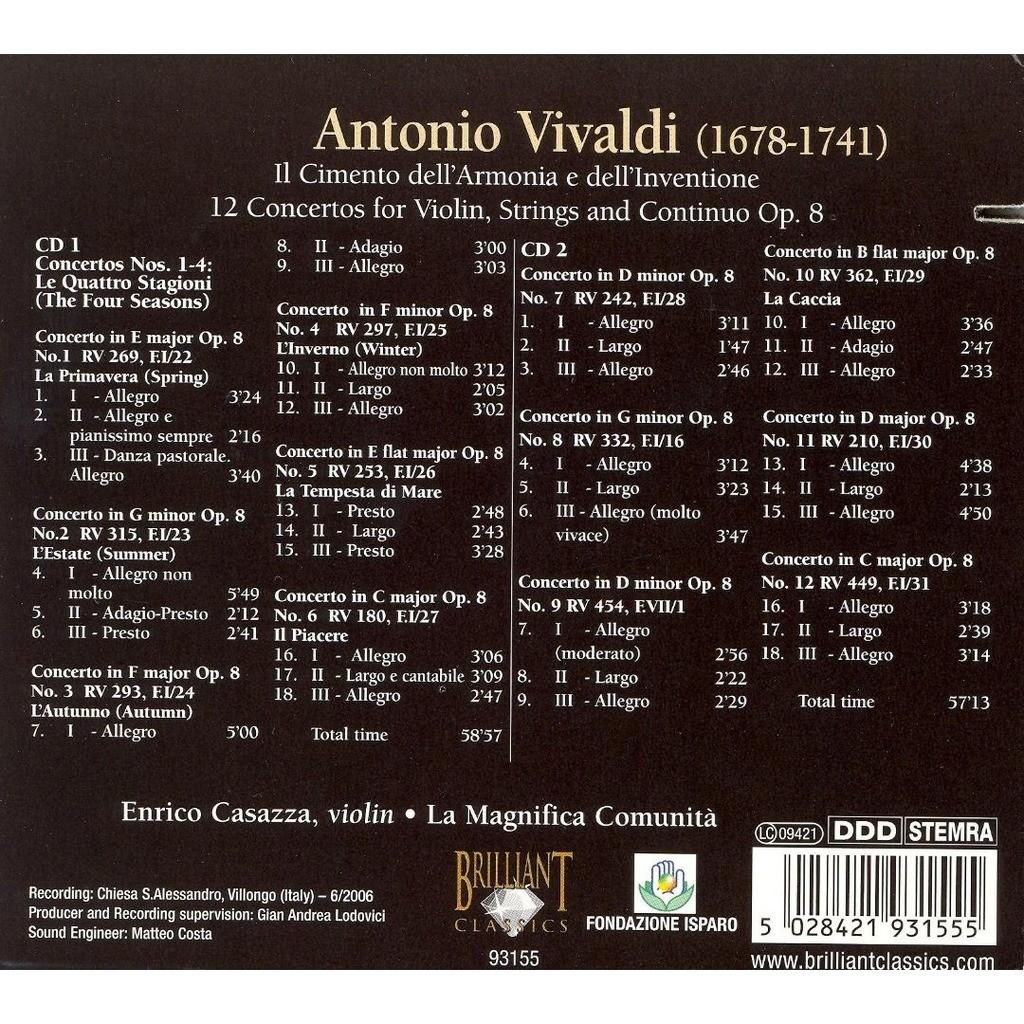 Vivaldi, Antonio Violin Concertos, Op. 8 / Enrico Casazza, La Magnifica Comunità