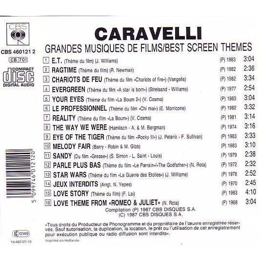 CARAVELLI Grandes Musiques de Films / Best Screen Themes