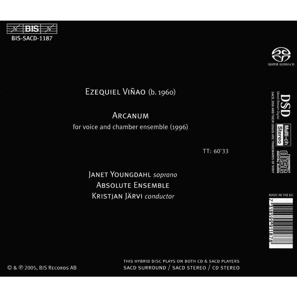 Viñao, Ezequiel (1960-) Arcanum / Janet Youngdahl, Absolute Ensemble, Kristjan Järvi