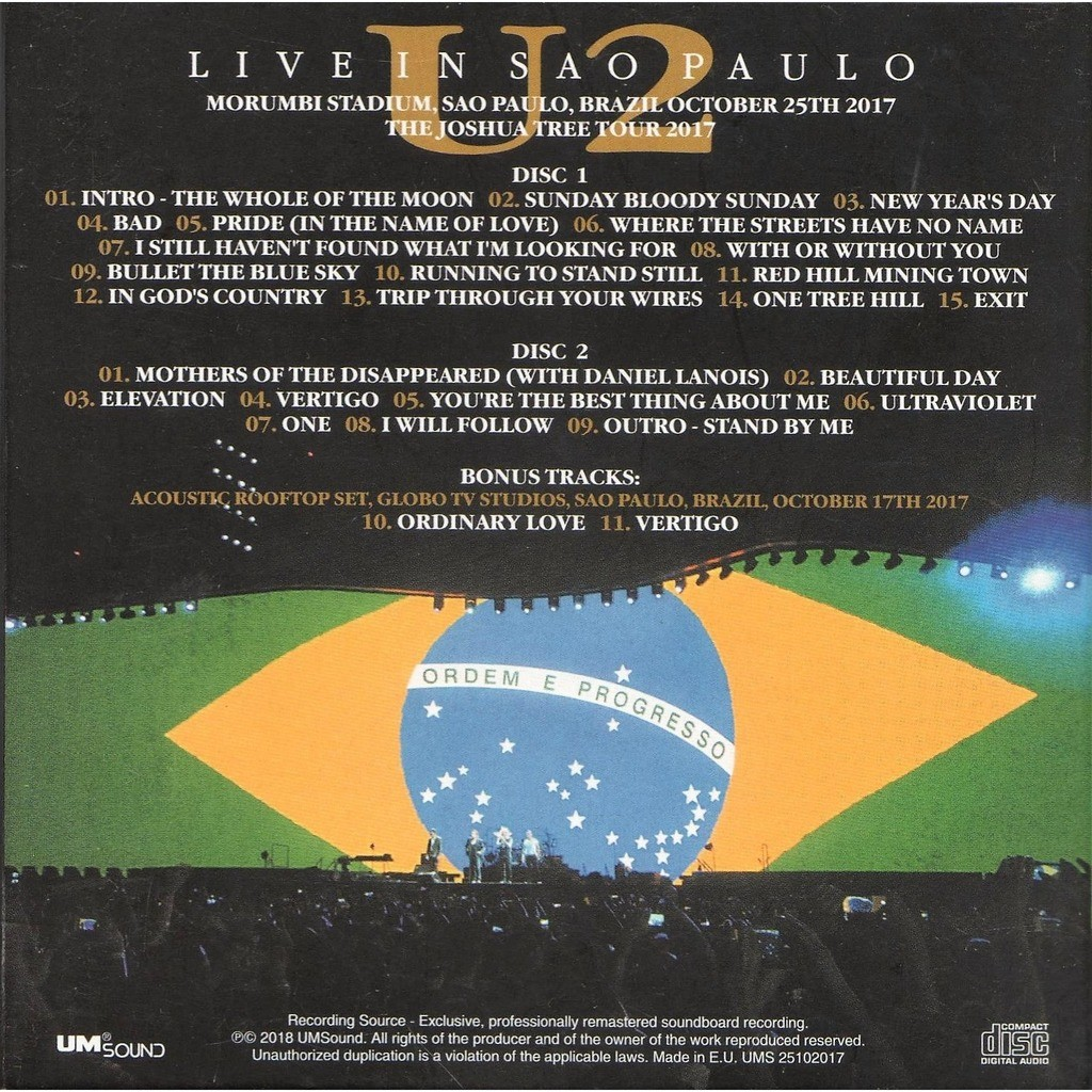 Live in sao paulo (brazil morumbi stadium 25 10 2017) by U2, CD x 2 with  gmvrecords