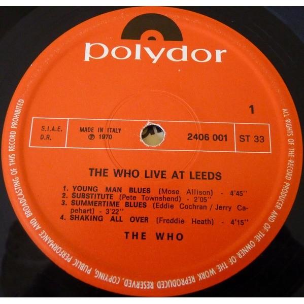 the WHO Live At Leeds (Italian 1970 original 6-trk LP unique front laminated ps!!)