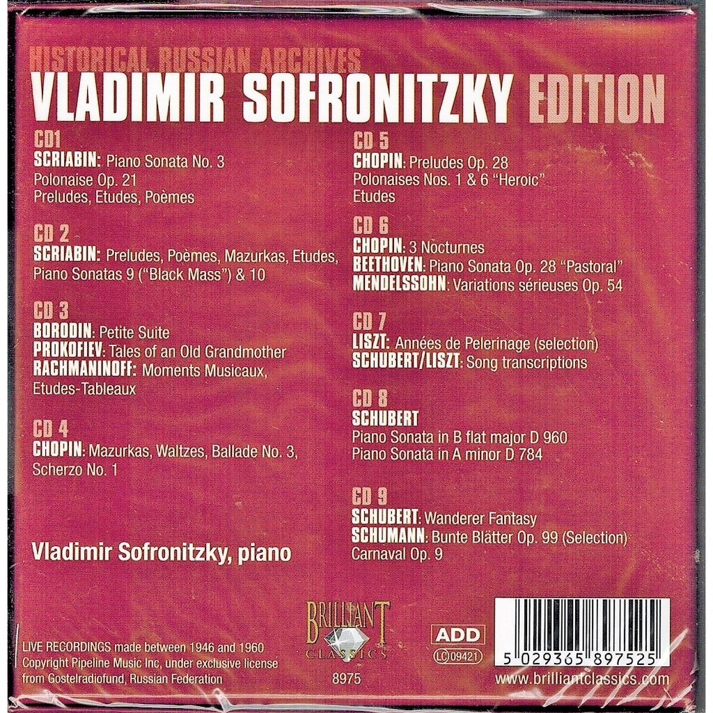 Historic russian archives: vladimir sofronitzky edition by Various  Composers, CD x 9 with melomaan