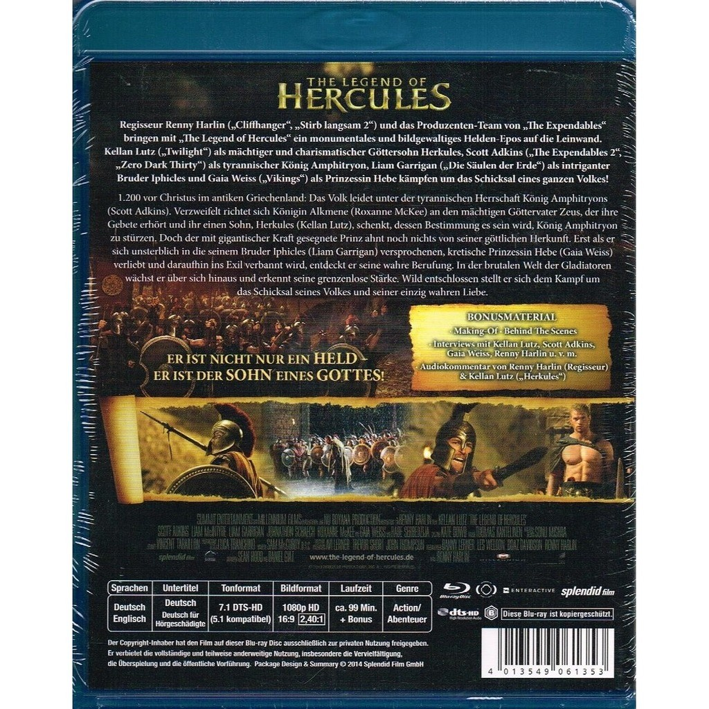 The legend of hercules (the legend of hercules) by Kellan Lutz, Scott  Adkins, Liam Garrigan, Blu-ray Disc with allaboutvinylplus