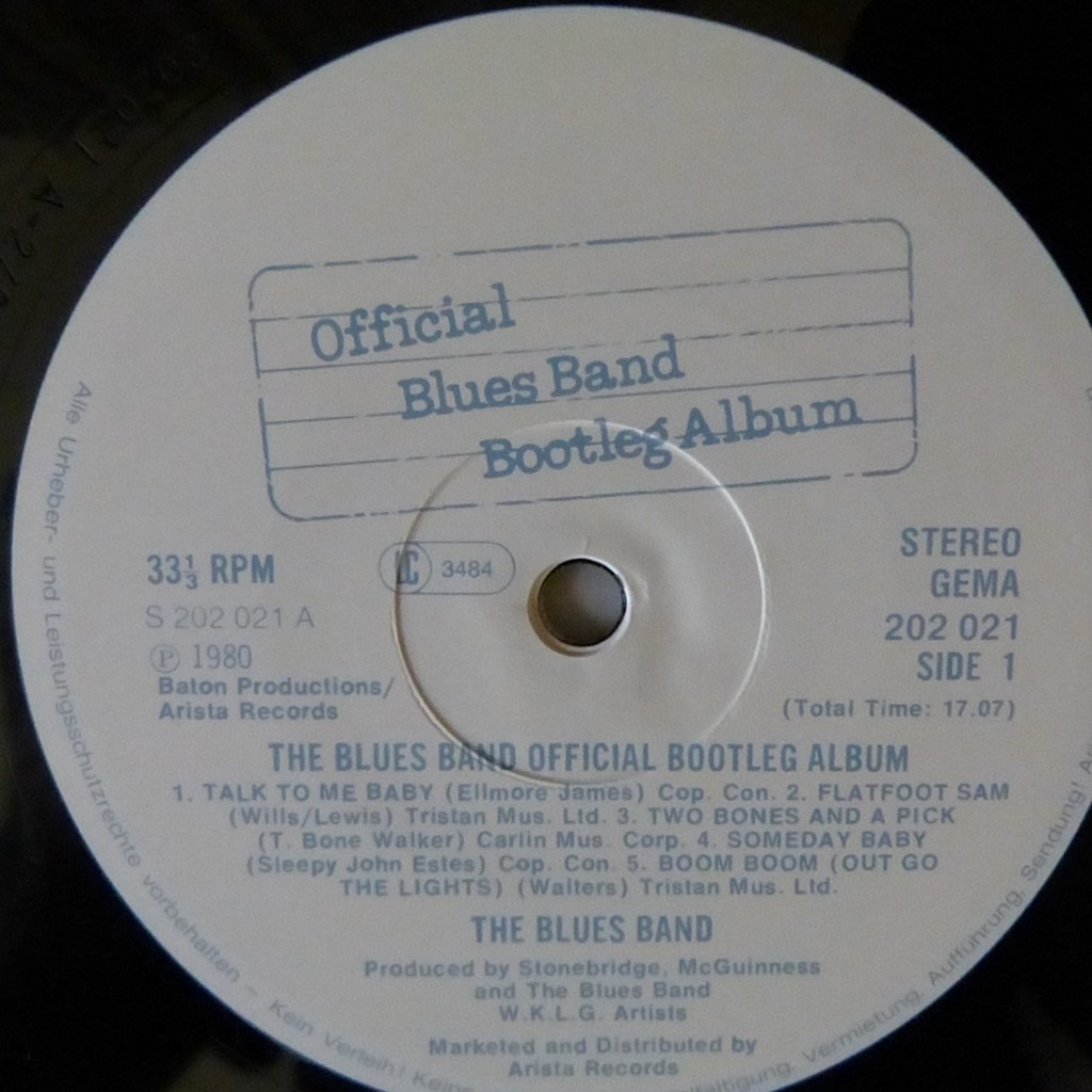 Official blues band bootleg album by The Blues Band, LP with blackcircle