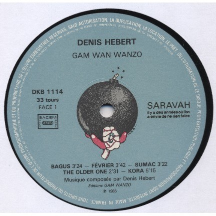 DENIS HEBERT GAM WAN WANZO - piano solo (Canada) french pressing / Cover = Jay S. Dunitz