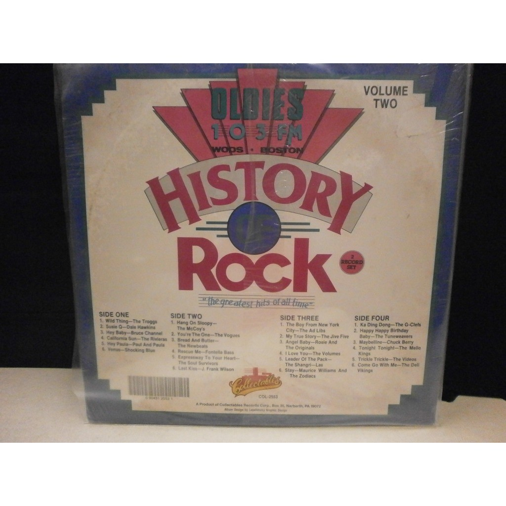 History of rock, vol  2 - wods boston oldies 103 fm by Various, LP x 2 with  recordsound