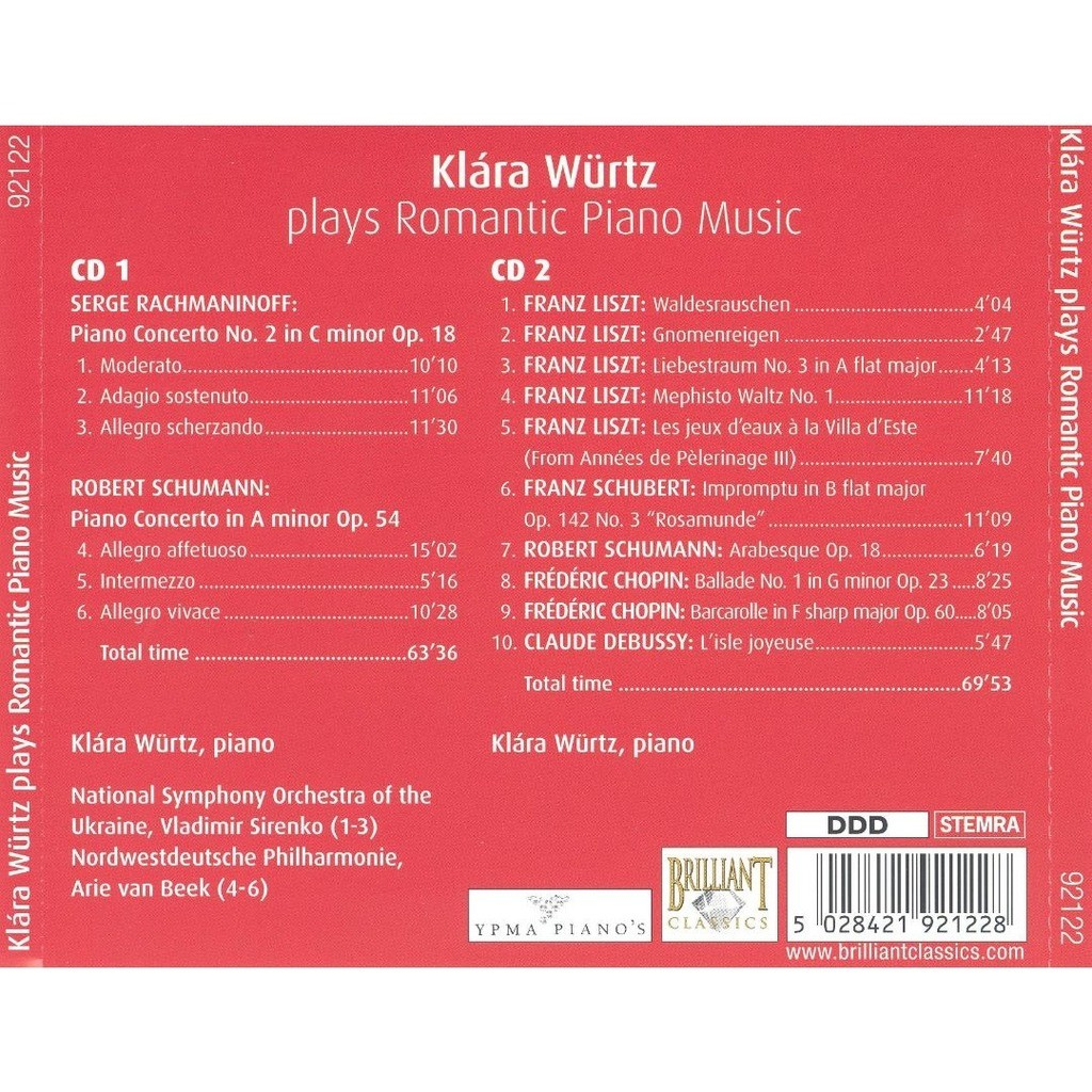 Klára würtz plays romantic piano music / ukrainian national so, northwest  german po, arie van beek de Various Composers, CD x 2 chez melomaan