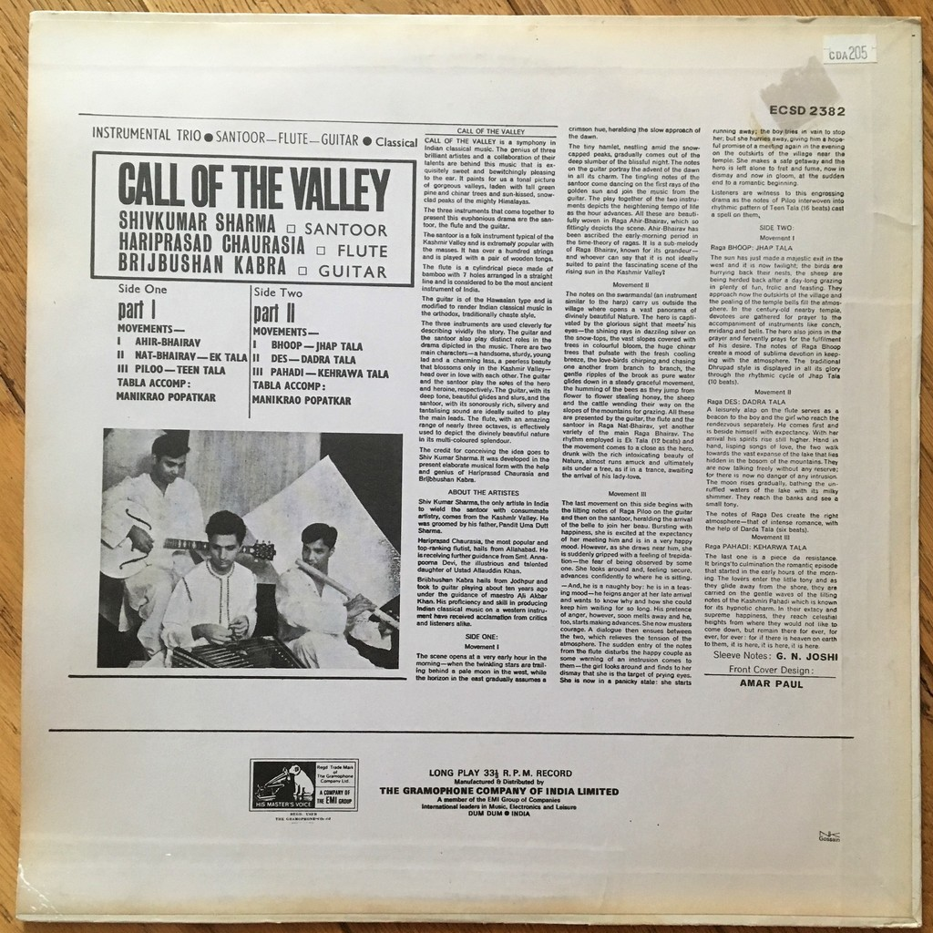 Shivkumar Sharma / Hariprasad Chaurasia etc Call Of The Valley