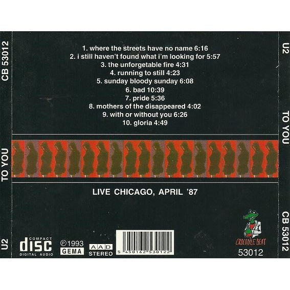 To you live in chicago 1987 by U2, CD with sweetrarities