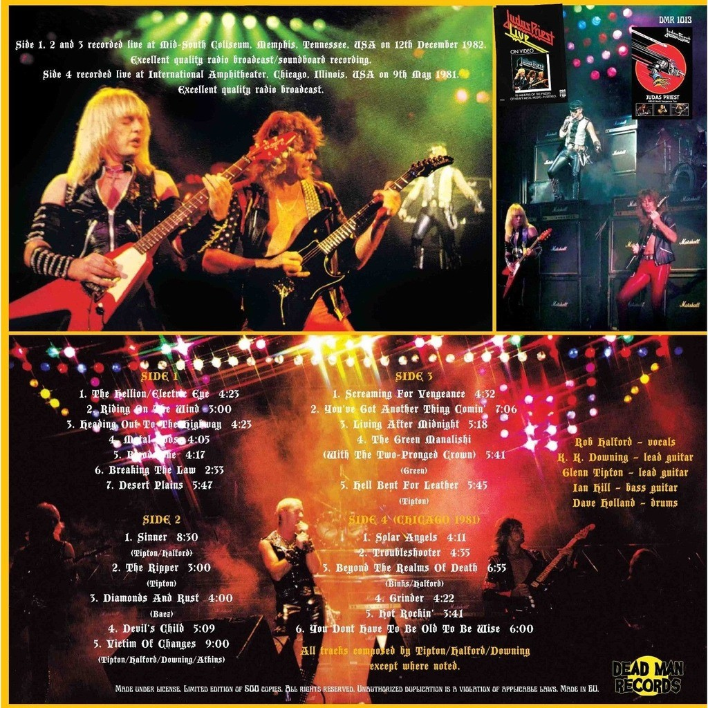 Judas Priest Live In Memphis 1982 (2xlp) Ltd Edit Gatefold Sleeve -E.U