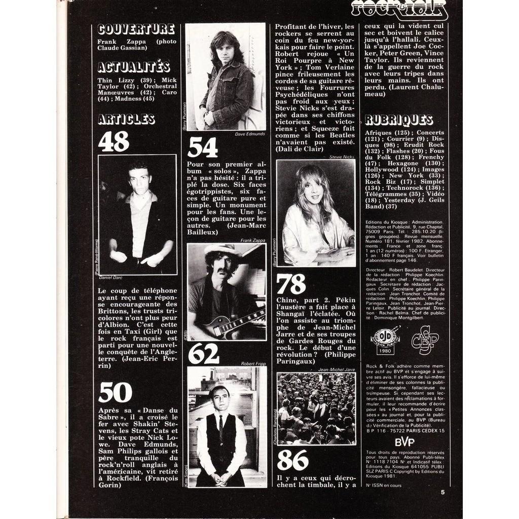 Rock & Folk N°181-février 1982