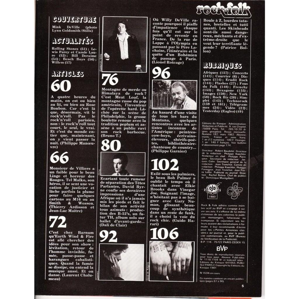 Rock & Folk N°182-mars 1982
