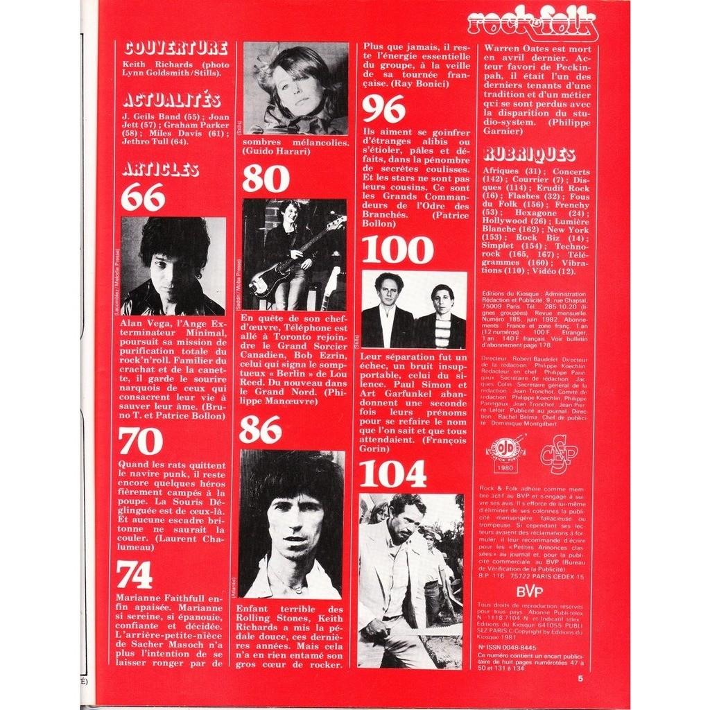 Rock & Folk N°185-juin 1982