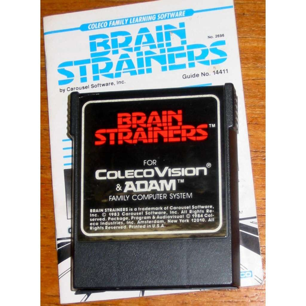 Colecovision Brain Strainers - Cartridge AND Original Manual - TESTED