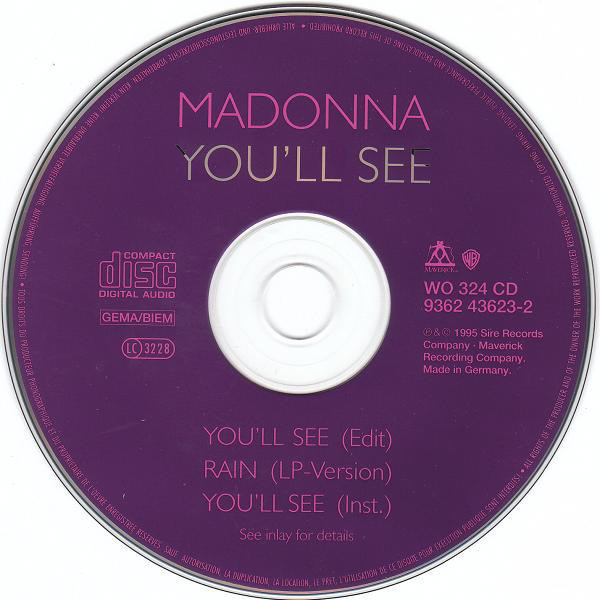 MADONNA - YOU'LL SEE (GER. PRESSING 3 TRK MAXI-CD)