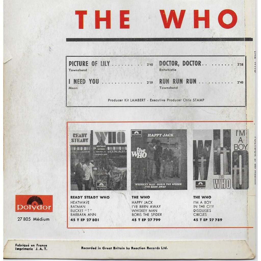 the who PICTURES OF LILY/I NEEED YOU/ DOCTOR,DOCTOR/ RU,RUN,RUN