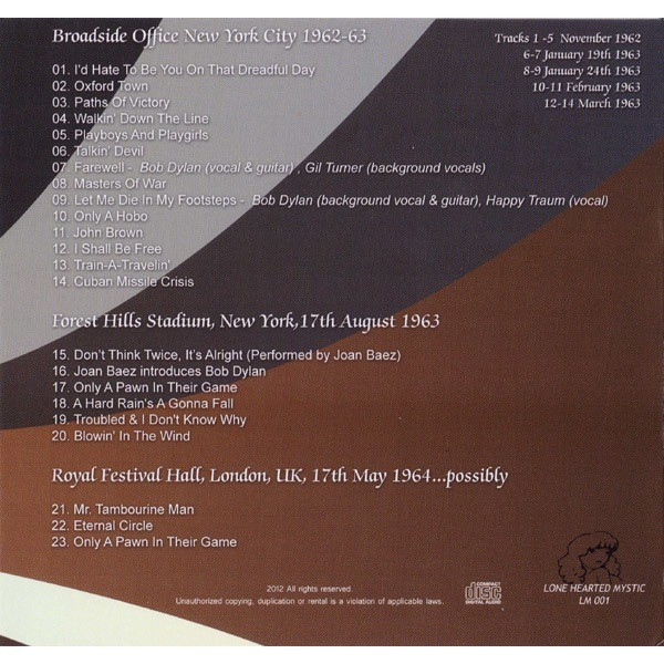 It could even be a myth - broadside ballads & forest hills revisited cd by  Bob Dylan, 50 gr with trooper86