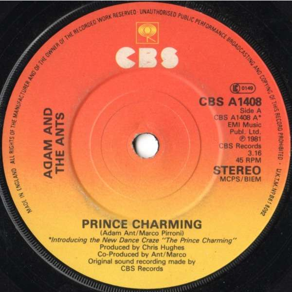Adam And The Ants Prince Charming (ORANGE INJECTION LABELS)