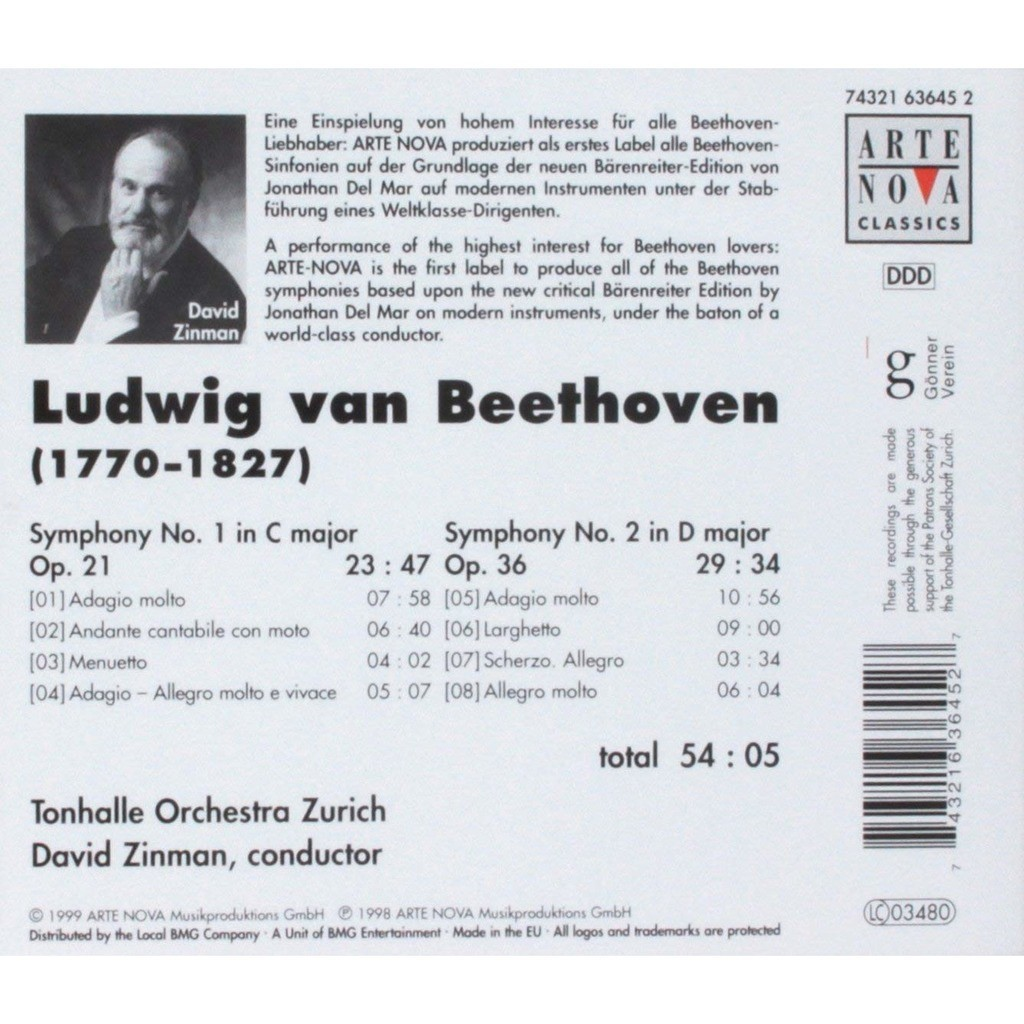 Symphonies 1 & 2 / zurich tonhalle orchestra, david zinman by Beethoven,  Ludwig Van, CD with melomaan