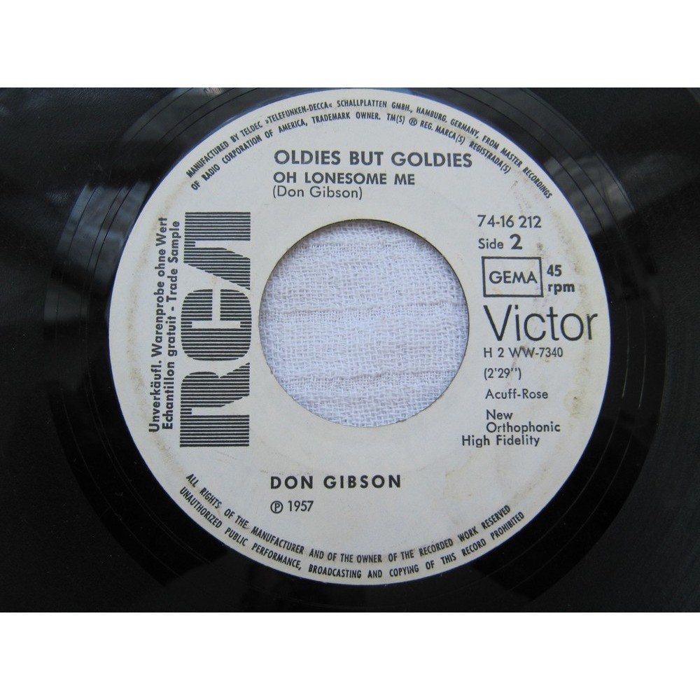 Don Gibson Sea Of Heartbreak / Oh Lonesome Me