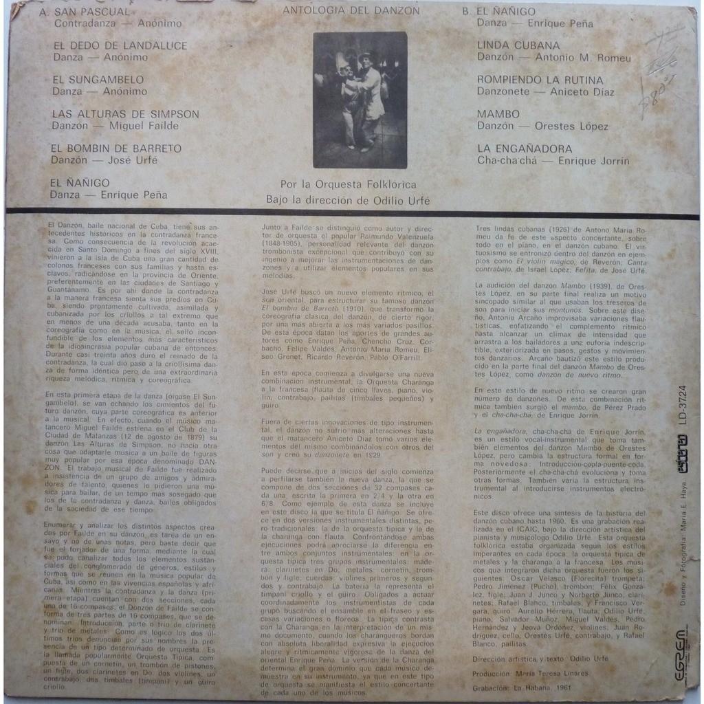 orquesta folklórica / odilio urfé antología del danzón