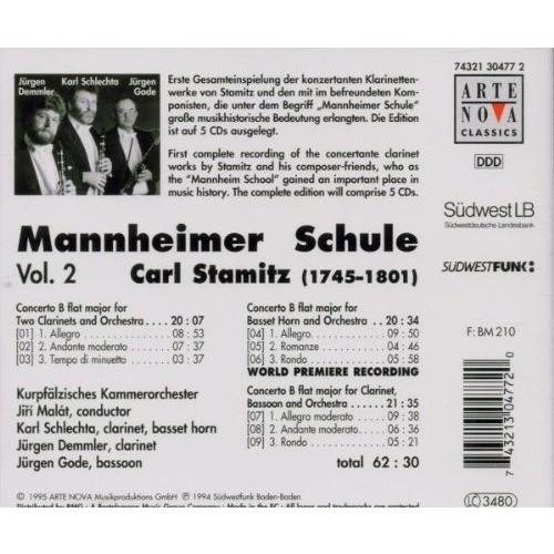 Stamitz, Carl Mannheimer Schule Vol 2 / Kurpfälzisches Chamber Orchestra, Jiri Malát