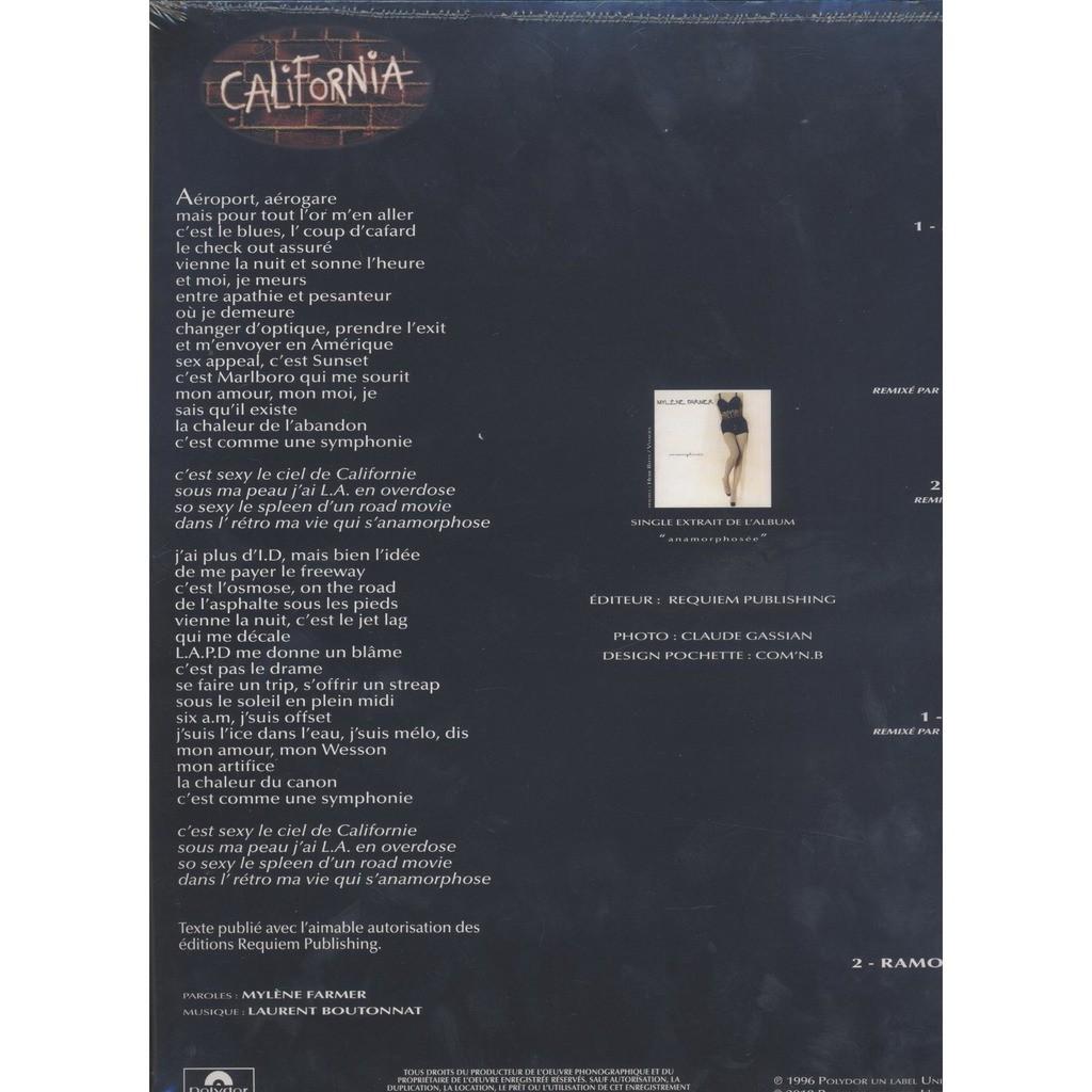 California remixes   limited edition de Mylene Farmer, Maxi 20T ...