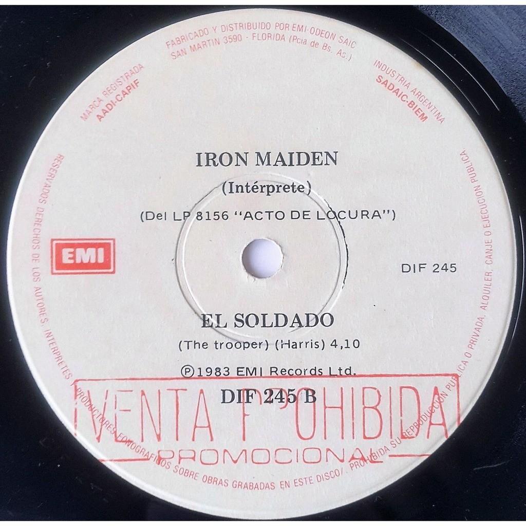 iron maiden El Soldado (Argentina 1983 original 2-trk w/label 7single promo Co. slv!)