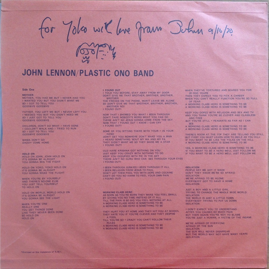 John Lennon Plastic Ono Band Ringo Starr P Spector John Lennon / Plastic Ono Band