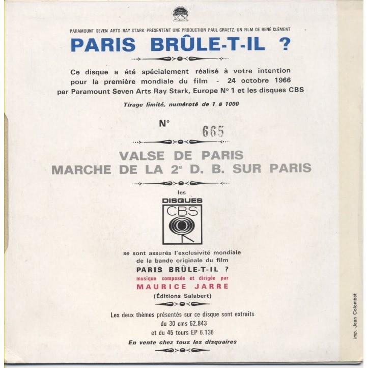 MAURICE JARRE Paris Brûle-t-il ? (film de René Clément) Numbered Edition Numérotée - 1re mondiale du film 24-10-66