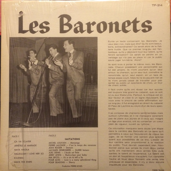 En Spectacle By Les Baronets Lp With Francophonies