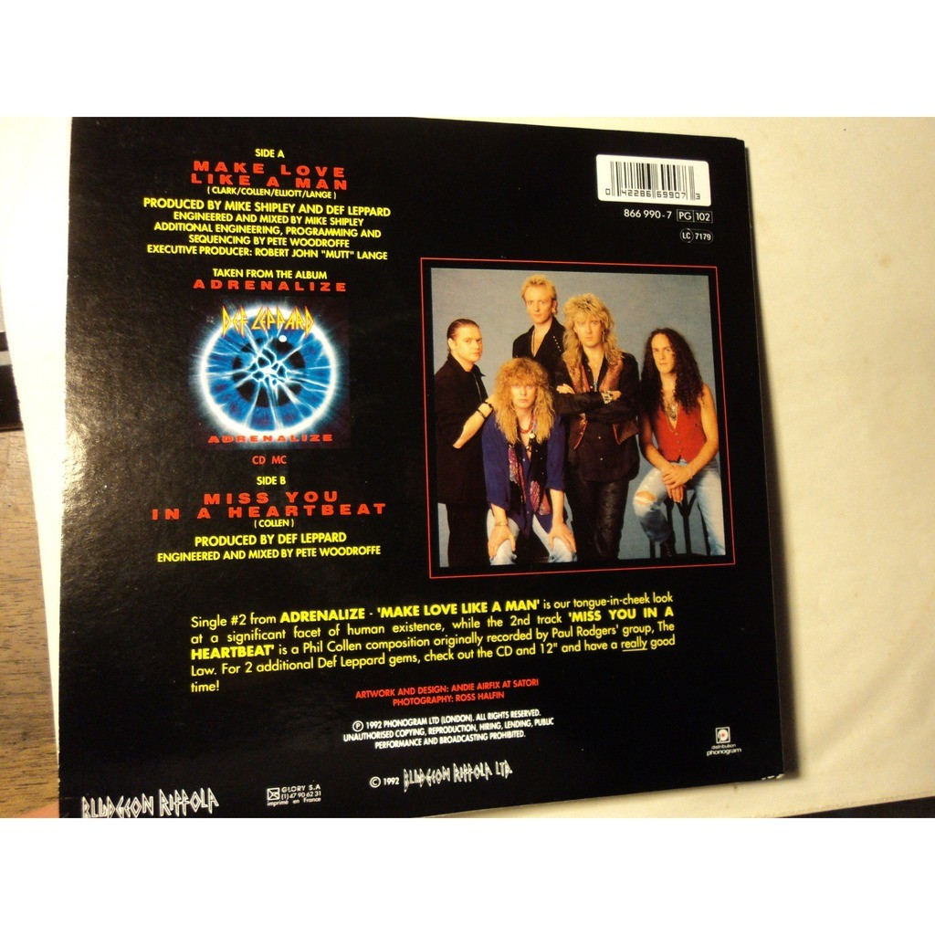 Make love like a man / miss you in a heartbeat de Def Leppard, 45 RPM (SP 2  títulos) con billidede