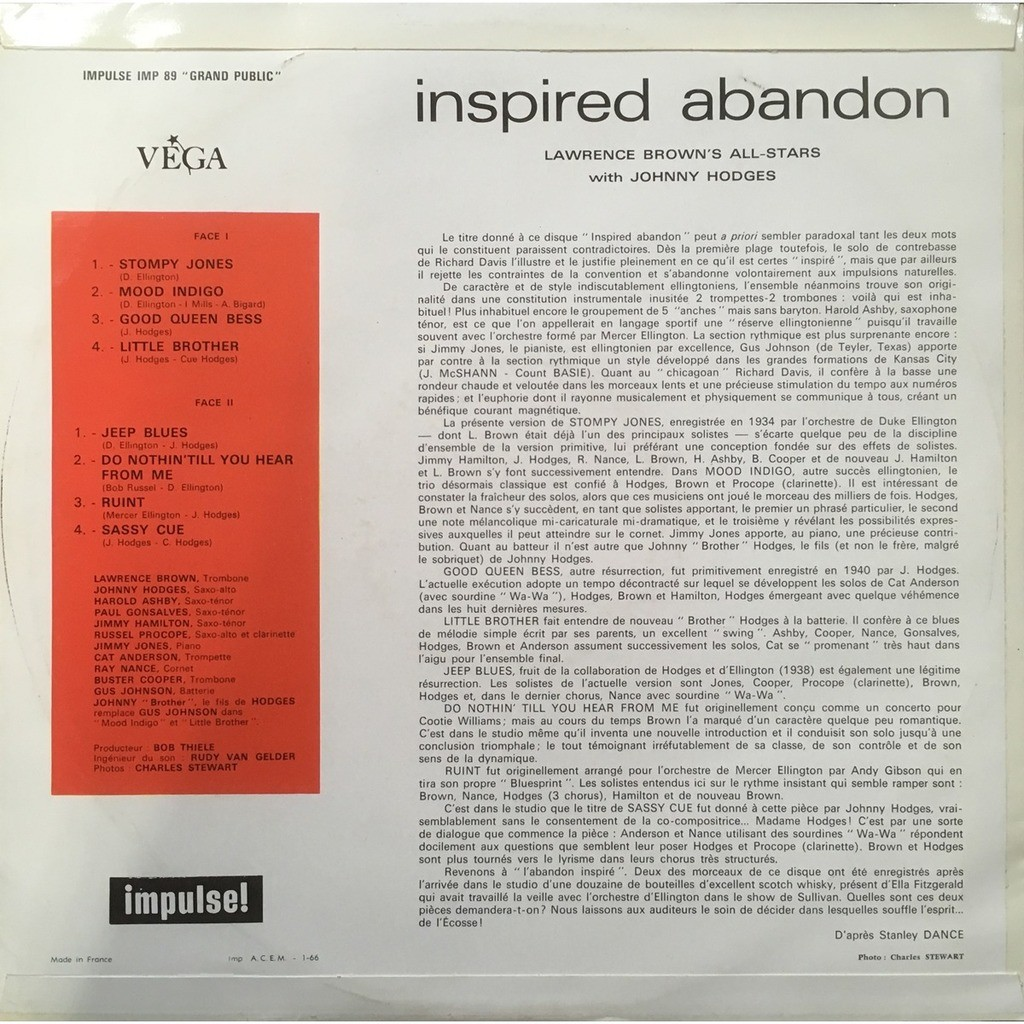 Lawrence Brown's All-Stars With Johnny Hodges Inspired Abandon (French Mono Original)
