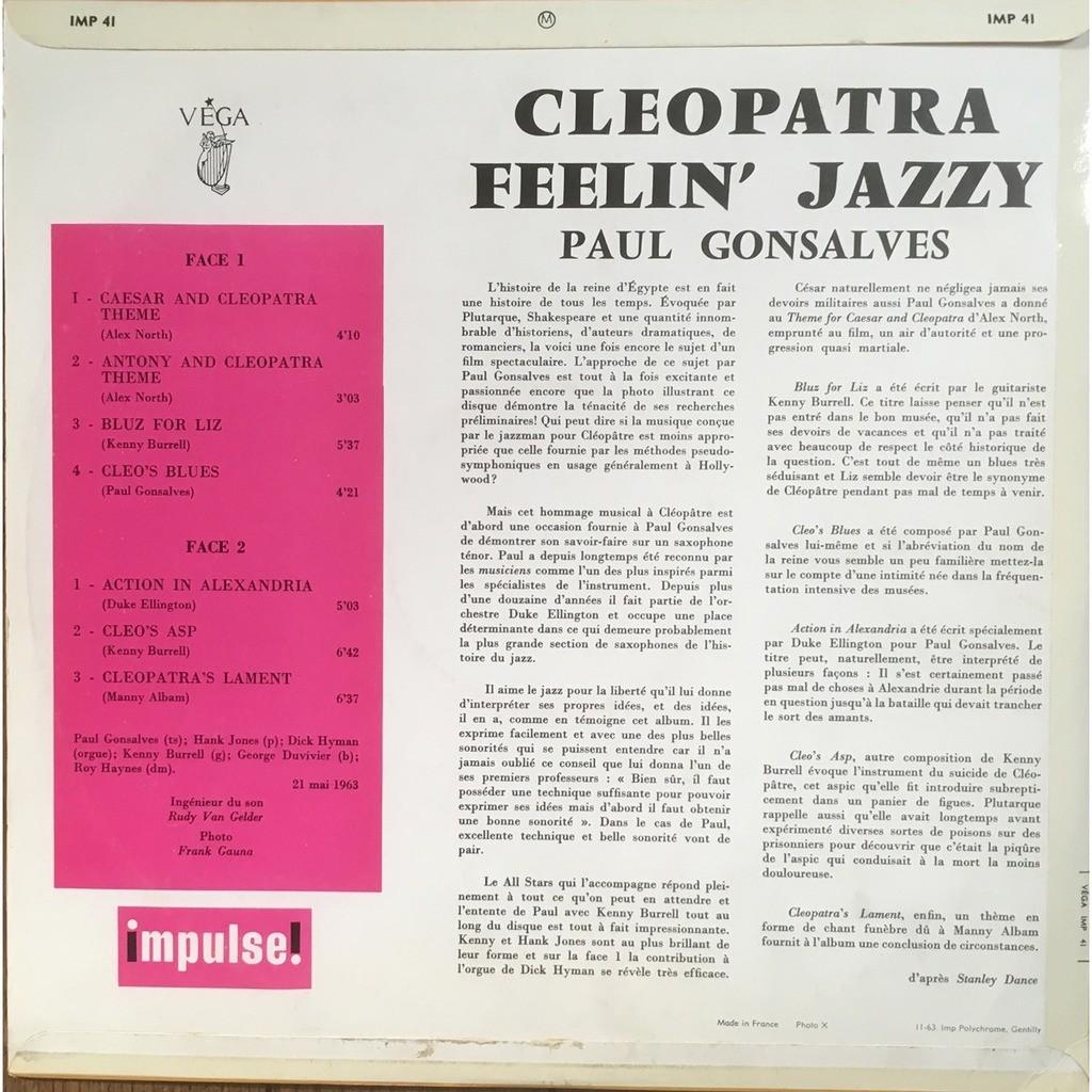Paul Gonsalves Cleopatra Feelin' jazzy (French Mono Original)