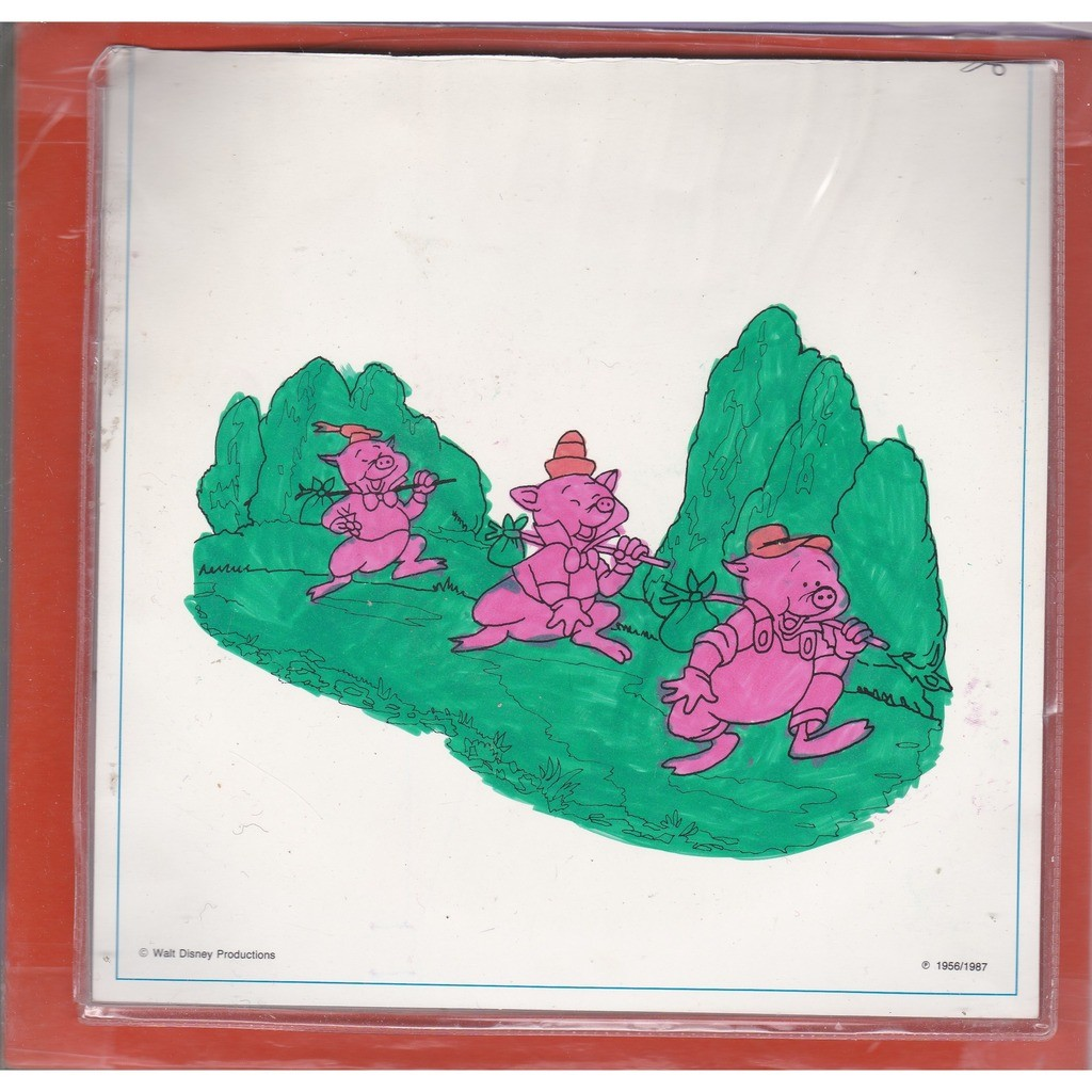LES 3 PETITS COCHONS qui craint le grand mechant loup ( vinyle couleur jaune transparent )