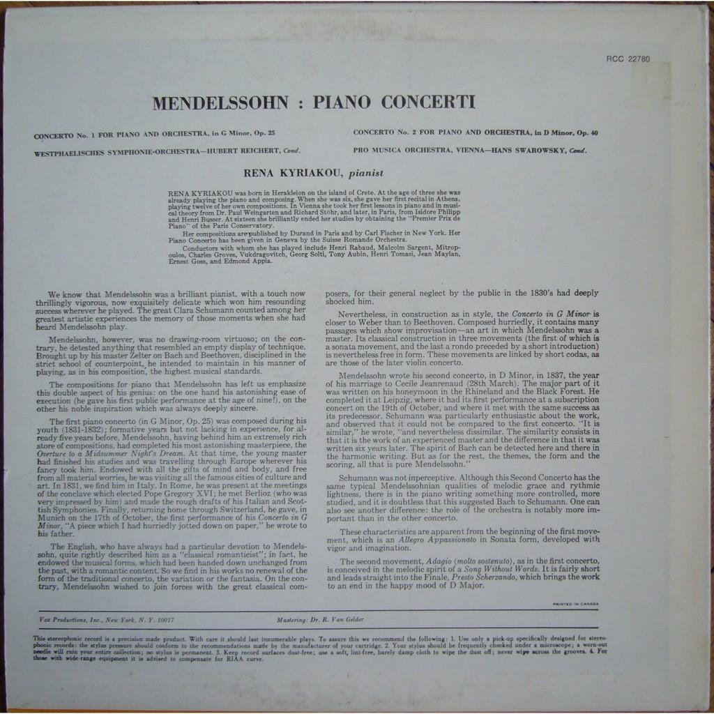 RENA KYRIAKOU Mendelssohn Piano Concertos 1 & 2 YORKSHIRE RECORDS RCC 22780 EX+
