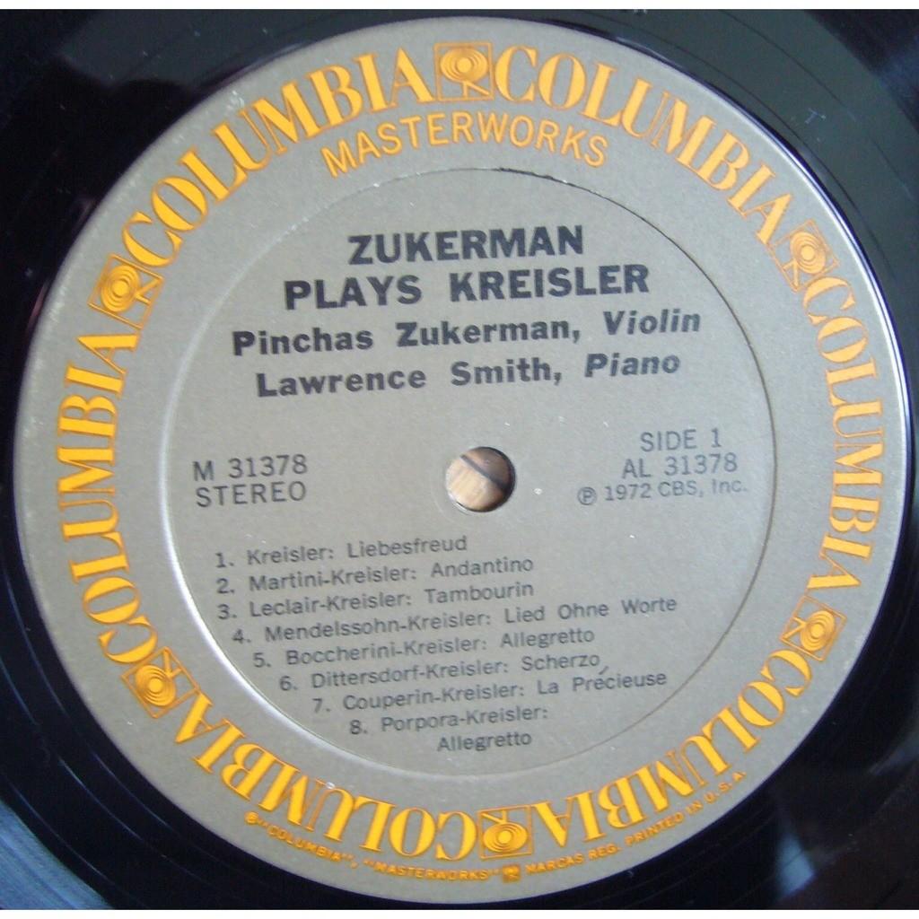 PINCHAS ZUKERMAN Zukerman Plays Kreisler COLUMBIA MASTERWORKS M 31378 NM