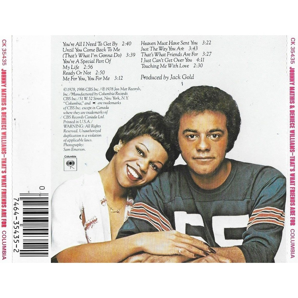 Johnny Mathis & Deniece Williams That's What Friends Are For1