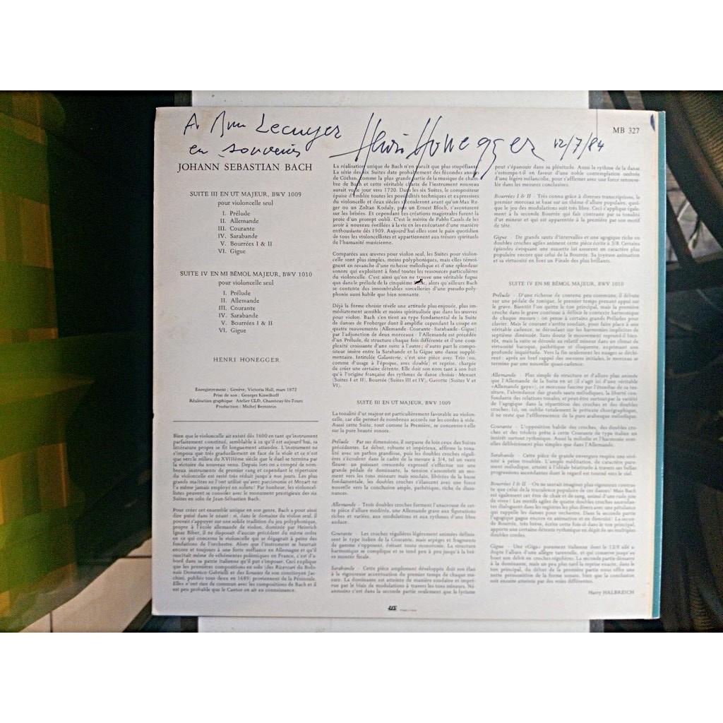 HENRI HONEGGER / BACH Les Suites Pour Violoncelle TOME II suites III & IV, BWV 1009 & 1010 / SIGNED!