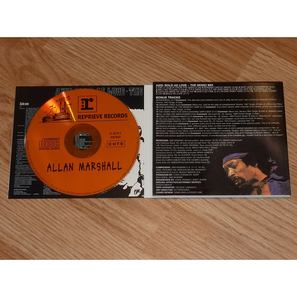 JIMI HENDRIX AXIS: BOLD AS LOVE MONO EDITION + BONUS TRACKS CD