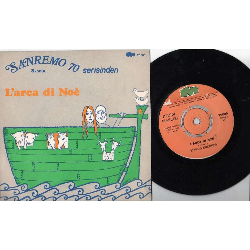 Sergio Endrigo L'Arca Di Noè (Turkish 1970 original 2-trk 7single on Melodi Plak lbl unique ps)