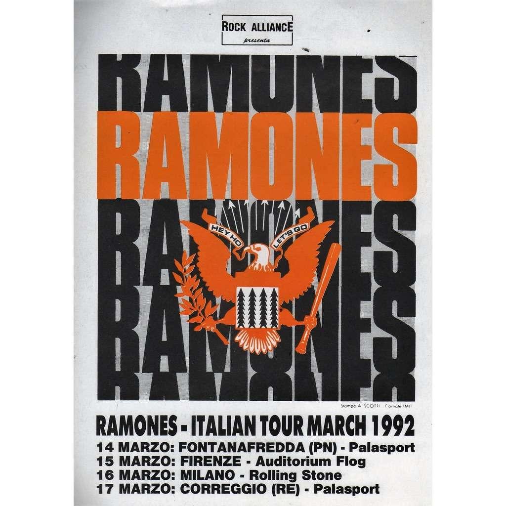 Ramones Italian Tour March 1992 (Italian 1992 original 'Tour dates' promo concerts flyer!!)