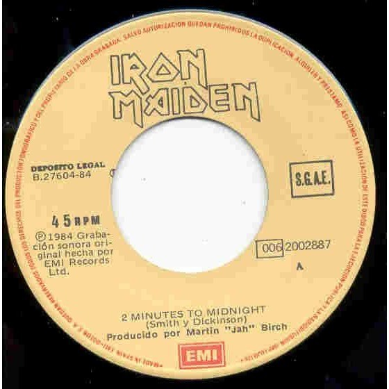 iron maiden 2 Minutes to midnight (Spanish 1983 2-trk 7single full ps)