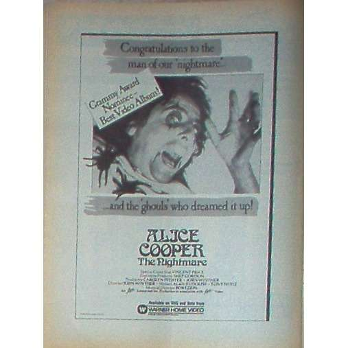 Alice Cooper The Nightmare (USA 1984 'WB' promo type advert 'Grammy Award Nominee' poster!!)